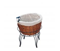 Single Willow Basket floor display with linen and sign clip