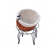Tilted willow basket display with sign clip and cloth liner