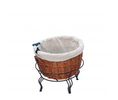 Single Willow Basket Display with linen and sign clip
