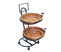 2 level oval basket floor display with sign clips and sign frame