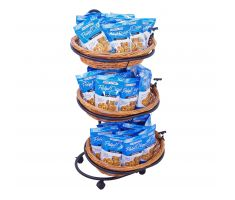 Oval Willow basket display with crackers and chips