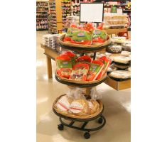 3 high willow basket display with chips and tortillas