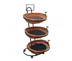 3 level basket display with 3 oval baskets and mesh liner