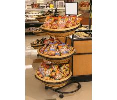 willow basket display with variety of chips and snacks