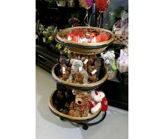 Willow basket display with stuffed animals on display