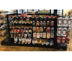 GX gondola system with large variety of products in center of store
