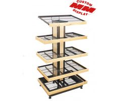 5 level wooden detailed wire display with 360 degree shelving