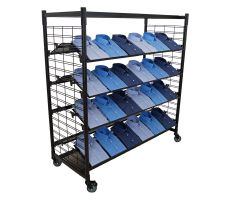Mobile slatgrid display with rectangle base and black tube steel chassis. two slatgrid walls are conjoined by 4 slanted slatgrid shelves and a top mounted flat shelf. Picture shows display holding folded dress shirts.