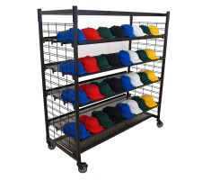 Mobile slatgrid display with rectangle base and black tube steel chassis. two slatgrid walls are conjoined by 4 slanted slatgrid shelves and a top mounted flat shelf. Picture shows display holding various hats.