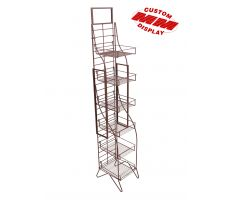 Tall wire display with 6 shelves and sign frame