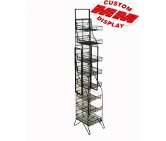 8 shelf wire fold up display. Shelves are tiny square baskets. Comes with top mounted sign frame for traditional print decals.