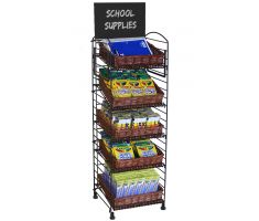 5 shelf fold up display with willow baskets full of school supplies