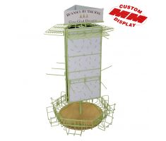 Multi purpose counter display with 360 degree mid level hooks, low level wire baskets, and high wire shelving. Consists of primary spire with 3 identical panes that are great for traditional decals.