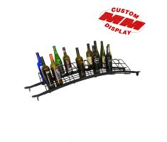 Curved wine bottle display with wire holders