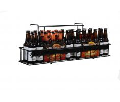 hang able wire display holding beer bottles