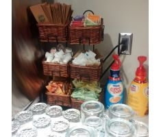3 level counter basket display with coffee accessories