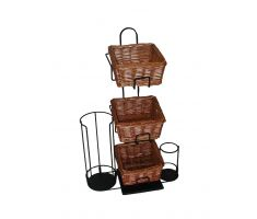 3 level counter basket display with 3 square willow baskets and additional lid and stir stick holder
