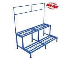 sturdy colored display with two shelves and tall sign frame