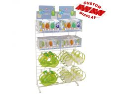 white wire display with hooks and shelves for toys