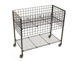 rectangular wire dump bin with shelving below and wheels