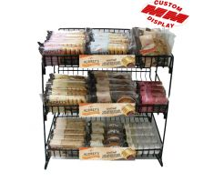 3 level wire counter display with shelving and candy bars