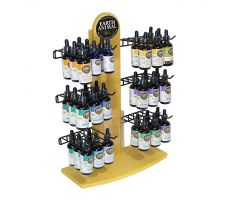 wooden counter display with single wooden spire as a back frame with decal at the top. Wing like wire hook fixtures appear in 3 horizontal pairs of 2 from the bottom to top of spire. Picture depicts hooks holding various products from snacks to pharmaceuticals