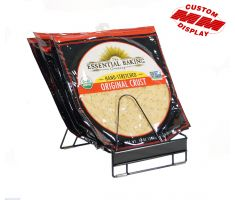 Custom wire counter display holding Essential Baking pizza crusts, divided by wire fans