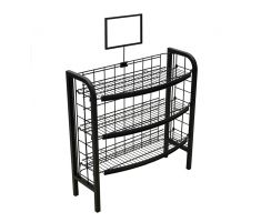 Steel wire floor display with 3 shelves and sign frame