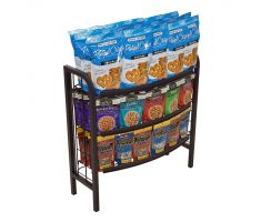 Black tube steel and wire floor display. Has 3 wire shelves with one face of display having curved appearance as display is supposed to be up against something else in store. Picture shows display holding tons of chips and crackers.