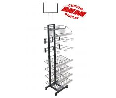 floor display with black tube steel back frame. Modular display with many different configurations of hooks, slanted wire shelves, and wire baskets. Display also comes with top mounted sign frame for traditional print decals.