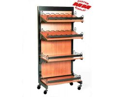 mobile wooden floor display. comes with 4 adjustable shelves. 2 are slanted with guard rails and the other two are flat with guard rails. Back frame of display is wood and full.