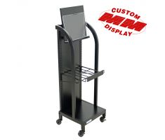 Mobile floor display with solid square back frame that is the size of the display. Comes with single attachable wire shelf and slanted sign holder. Comes complete with casters and is great for newspapers or pamphlets.
