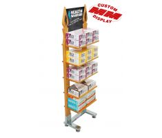 Wooden Display with 5 shelves stacked with nutrition bars