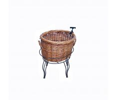 Medium natural brown willow basket in wire stand with sign clip