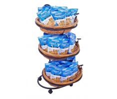 Oval willow basket display with three tiers, filled with bagged pretzels