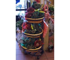 Willow basket floor display with holiday decorations