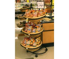 Three Tier Oval Basket Display filled with Pita Chips