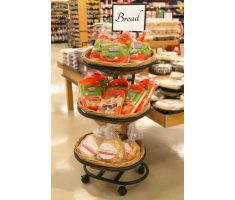 3-Tier Oval Willow Basket display filled with Bread