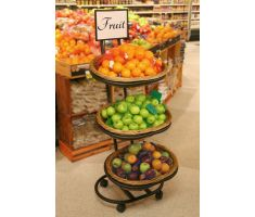 Triple Tiered Oval Willow Basket display filled with Oranges and Apples