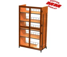 Wooden display with locking mechanism and 5 shelves
