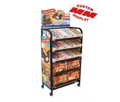 5 shelf endcap with tube steel back frame and casters. Comes fitted with top-mounted sign frame for traditional decals. Shelving is also slanted and great for snacks or bakery items.