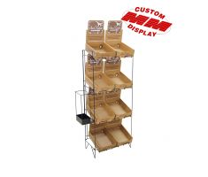 Wire floor display with 4 levels of wire baskets for nutrition bars. Also comes fitted with attachable wire box for tall products that can fit in a side pocket