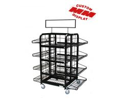 Large Shelved floor Display with sign frame and wheels