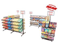 Checkout line surrounded by shelves filled with snacks