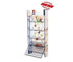 Wire counter display with custom graphics and five  rows of wires that hold 3 single-serve breakfast cups with empty bottom shelf