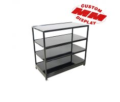 4 tier floor display with rectangle base. Comes with 4 identical full steel black shelves.
