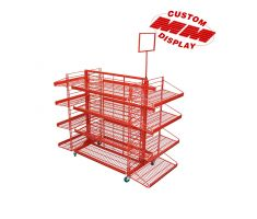 red steel wire centerpiece display with 360 degree wire shelving and top mounted sign frame. Comes with casters. Each side has 4 wire shelves. The longer sides have flat shelving while the shorter sides have slanted shelves.