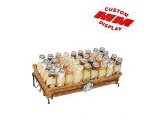 Single basket counter display holding bottled coffee