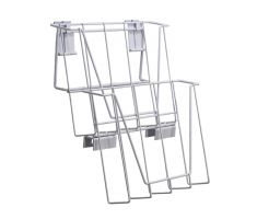 2-Tier White Wire Publication Holder for displaying news, magazines, comic books, or other media