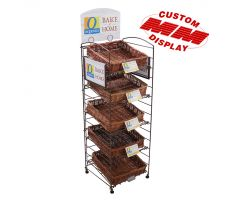 Fold up wire floor display with shelves. Shelves have square willow baskets and display comes with side sign frames and a top mounted sign frame for traditional print graphics.